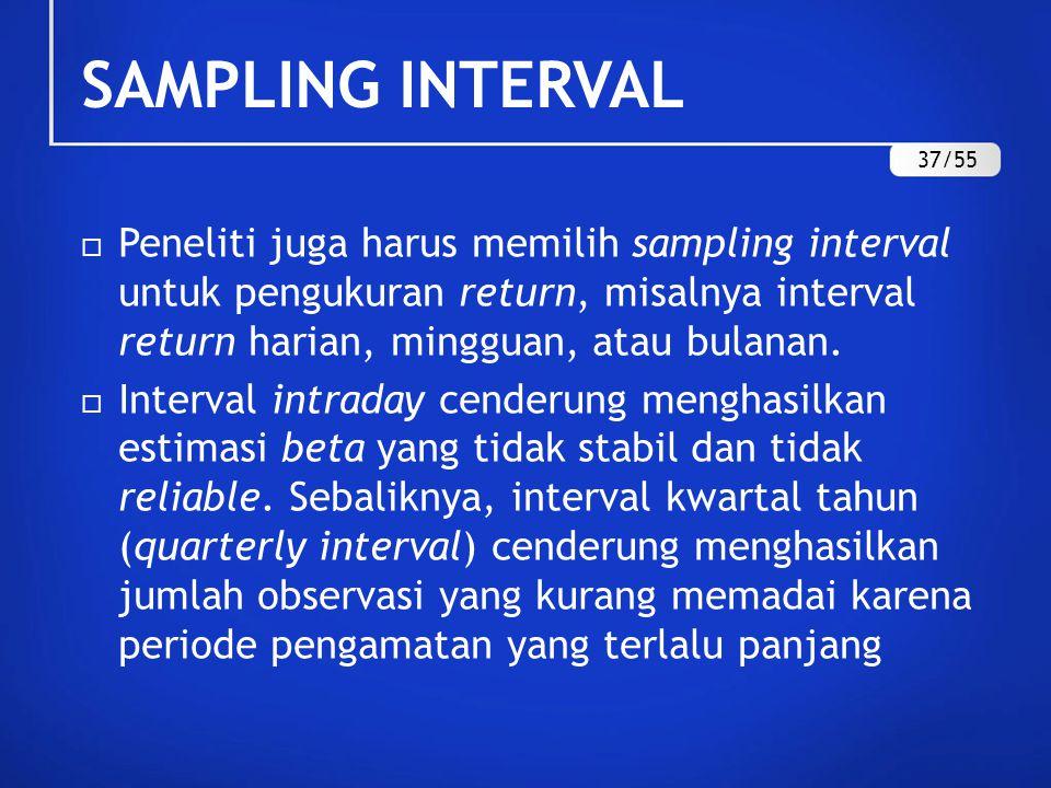 SAMPLING INTERVAL  Perubahan beta diargumentasikan sebagai fungsi dari frekuensi perdagangan, yang berkaitan dengan ukuran perusahaan.