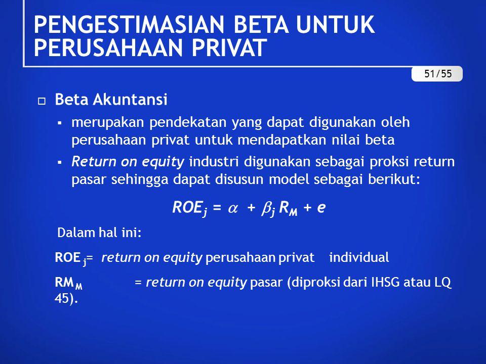  Estimasi Beta dengan Teknik Hamada  Hamada mengemukakan model penyesuaian beta bila terdapat perubahan leverage :  L =  U [1 + (1 – T)(D/E)]  Dengan demikian, beta unleveraged dapat dihitung sebagai berikut:  U =  L / [1 + (1 – T)(D/E)] Dalam hal ini:  L = Beta perusahaan yang memiliki leverage  U = Beta perusahaan yang tidak memiliki leverage T = tingkat pajak perusahaan D/E = rasio utang per ekuitas (debt to equity ratio).