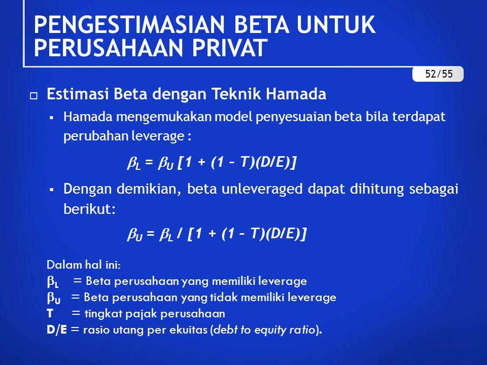  Soal : Sebagai ilustrasi diketahui beta PT.Duta Pertiwi Tbk.