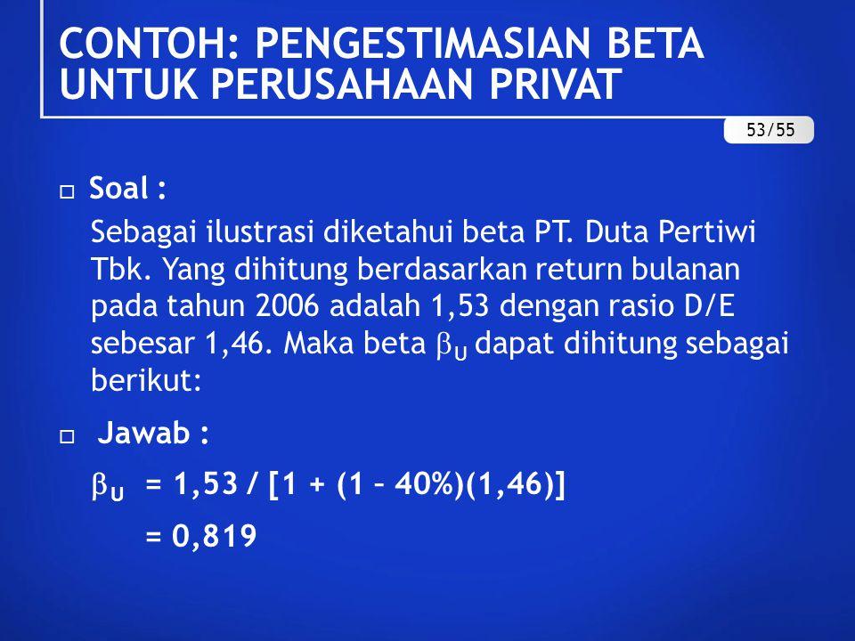  Soal:  PT A, sebuah perusahaan real estat dan properti memiliki rasio D/E = 0,95.