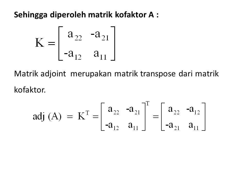 Matrik adjoint merupakan matrik transpose dari matrik kofaktor. Sehingga diperoleh matrik kofaktor A :