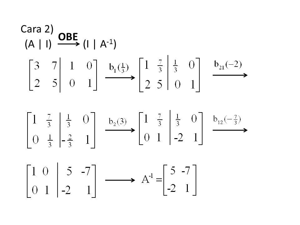 Cara 2) (A | I)(I | A -1 ) OBE