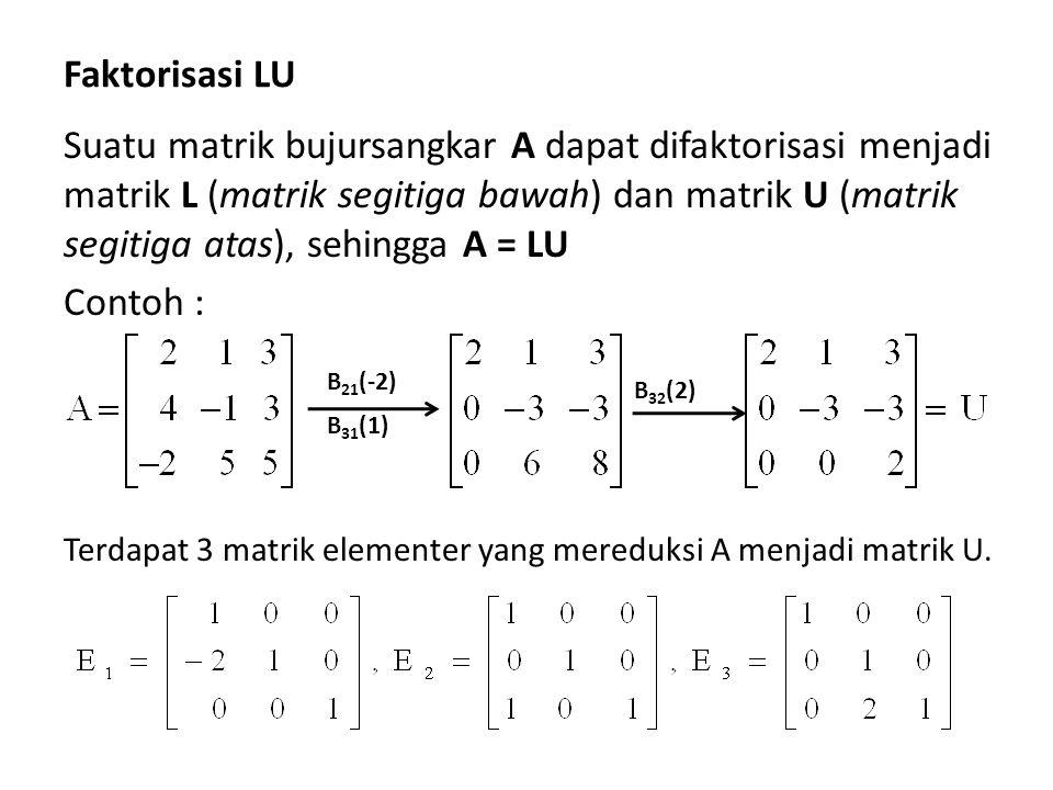 Faktorisasi LU Suatu matrik bujursangkar A dapat difaktorisasi menjadi matrik L (matrik segitiga bawah) dan matrik U (matrik segitiga atas), sehingga