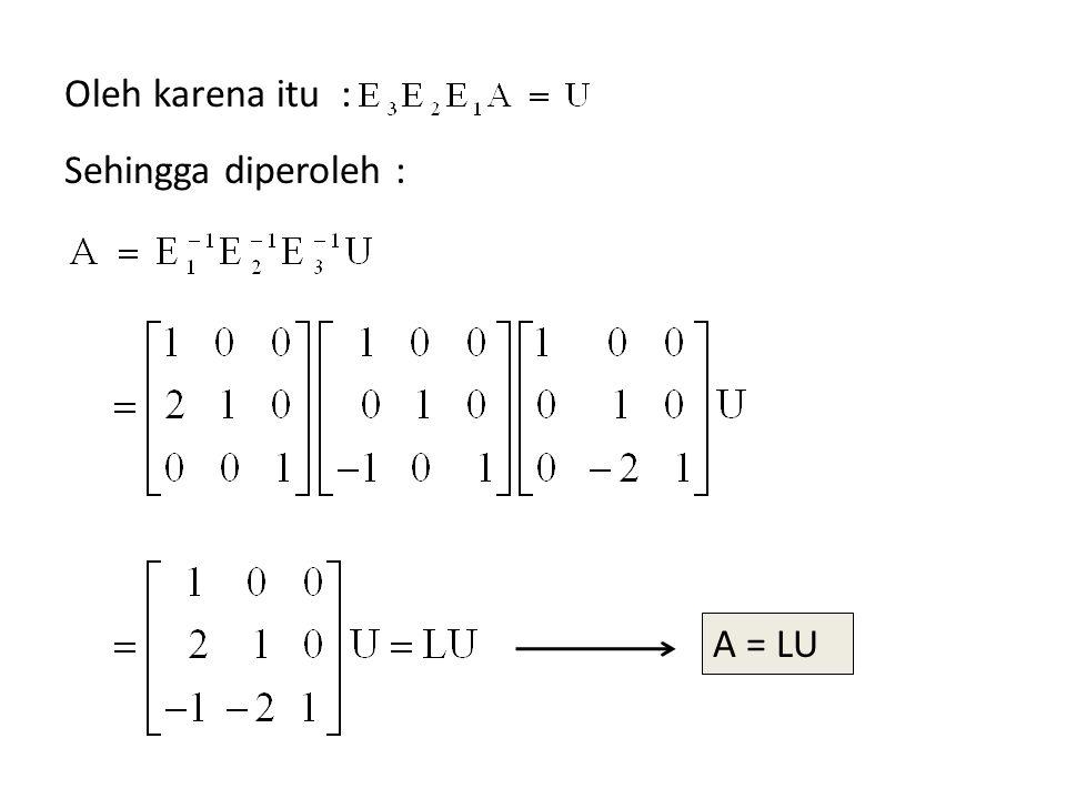 Oleh karena itu : Sehingga diperoleh : A = LU