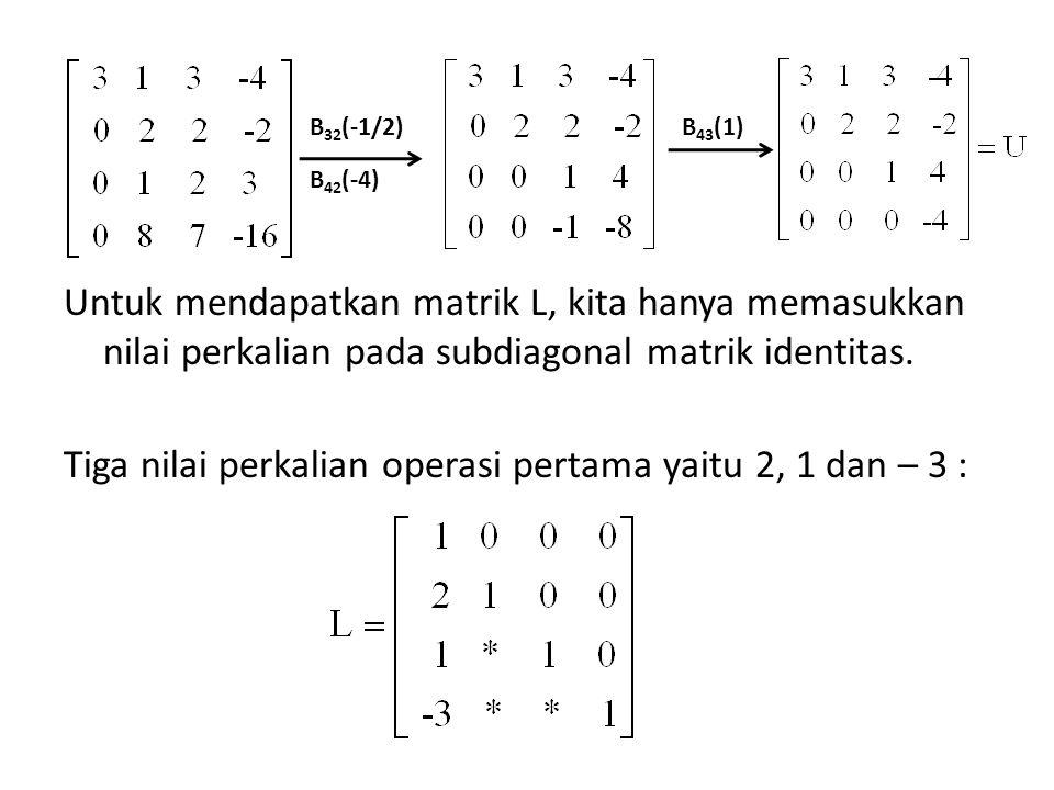 B 32 (-1/2) B 42 (-4) B 43 (1) Untuk mendapatkan matrik L, kita hanya memasukkan nilai perkalian pada subdiagonal matrik identitas. Tiga nilai perkali