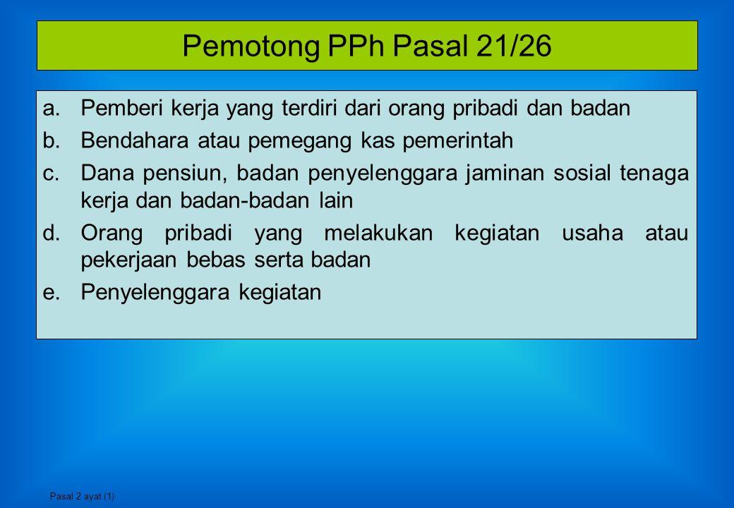 Saat Terutang PPh Pasal 21/26 Bagi Penerima Penghasilan SAAT DILAKUKAN PEMBAYARAN ATAU SAAT TERUTANGNYA PENGHASILAN Bagi Pemotong PPh Pasal 21/26 UNTUK SETIAP MASA PAJAK AKHIR BULAN DILAKUKANNYA PEMBAYARAN ATAU AKHIR BULAN TERUTANGNYA PENGHASILAN Pasal 21
