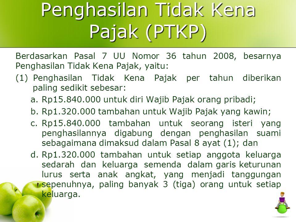 TARIF PAJAK PPh Menurut UU Nomor 68 tahun 2009 Lapisan Penghasilan Kena PajakTarif Pajak S/D 50.000.0005% 50.000.000 sampai dengan 250.000.000 15% 250