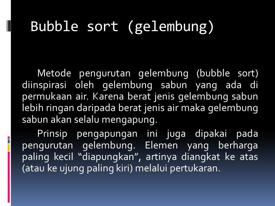 Bubble sort (gelembung) Metode pengurutan gelembung (bubble sort) diinspirasi oleh gelembung sabun yang ada di permukaan air. Karena berat jenis gelem
