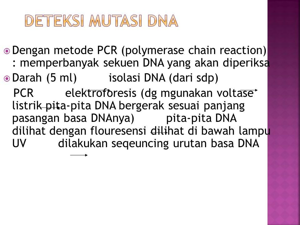  Dengan metode PCR (polymerase chain reaction) : memperbanyak sekuen DNA yang akan diperiksa  Darah (5 ml) isolasi DNA (dari sdp) PCR elektroforesis (dg mgunakan voltase listrik pita-pita DNA bergerak sesuai panjang pasangan basa DNAnya) pita-pita DNA dilihat dengan flouresensi dilihat di bawah lampu UV dilakukan seqeuncing urutan basa DNA