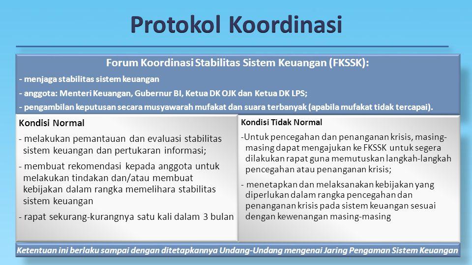 Forum Koordinasi Stabilitas Sistem Keuangan (FKSSK): - menjaga stabilitas sistem keuangan - anggota: Menteri Keuangan, Gubernur BI, Ketua DK OJK dan K