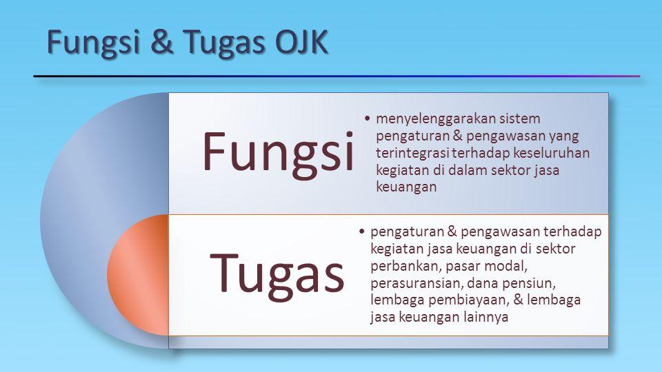 Fungsi & Tugas OJK Fungsi Tugas menyelenggarakan sistem pengaturan & pengawasan yang terintegrasi terhadap keseluruhan kegiatan di dalam sektor jasa k