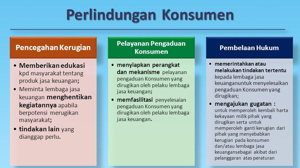 Perlindungan Konsumen Pencegahan Kerugian Memberikan edukasi kpd masyarakat tentang produk jasa keuangan; Meminta lembaga jasa keuangan menghentikan k