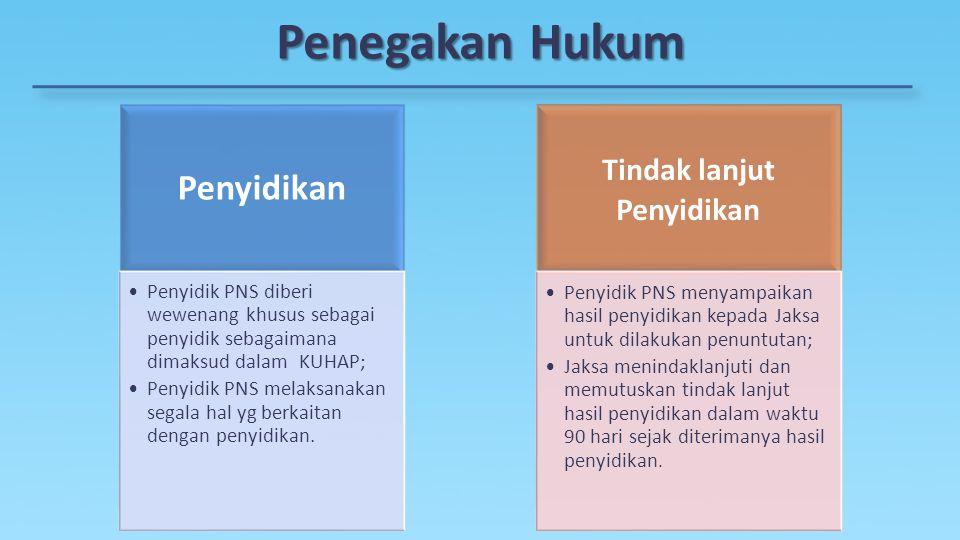 Penegakan Hukum Penyidikan Penyidik PNS diberi wewenang khusus sebagai penyidik sebagaimana dimaksud dalam KUHAP; Penyidik PNS melaksanakan segala hal