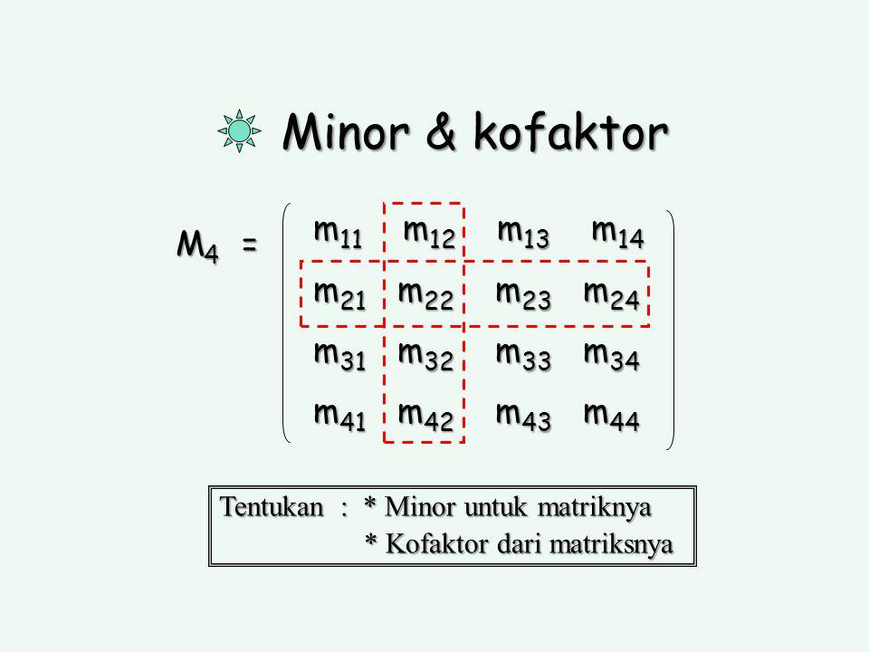 Minor & kofaktor M 4 = Tentukan : * Minor untuk matriknya * Kofaktor dari matriksnya * Kofaktor dari matriksnya m 11 m 12 m 13 m 14 m 21 m 22 m 23 m 2