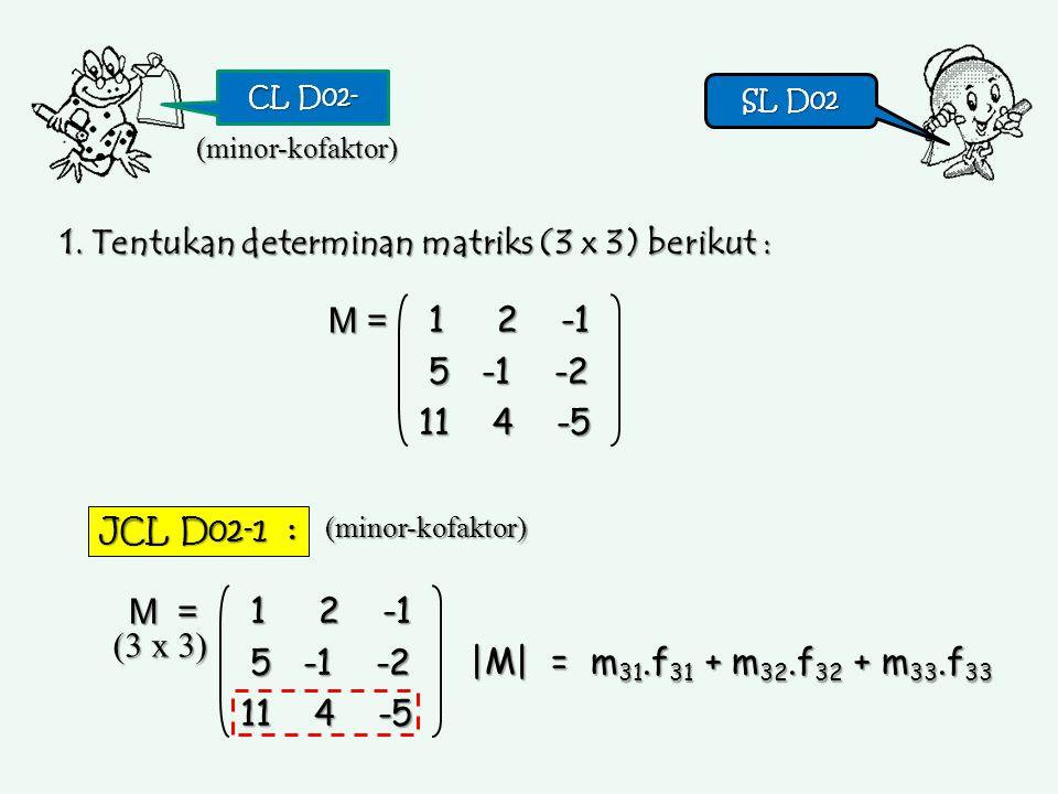 CL D02- SL D02 SL D02 1. Tentukan determinan matriks (3 x 3) berikut : 1 2 -1 1 2 -1 5 -1 -2 5 -1 -2 11 4 -5 M = (minor-kofaktor) JCL D02-1 : |M| = m
