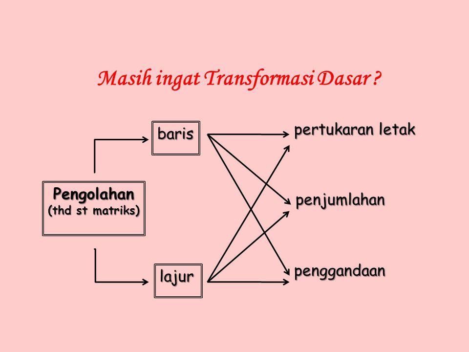 Masih ingat Transformasi Dasar ? Pengolahan (thd st matriks) baris lajur pertukaran letak penjumlahan penggandaan