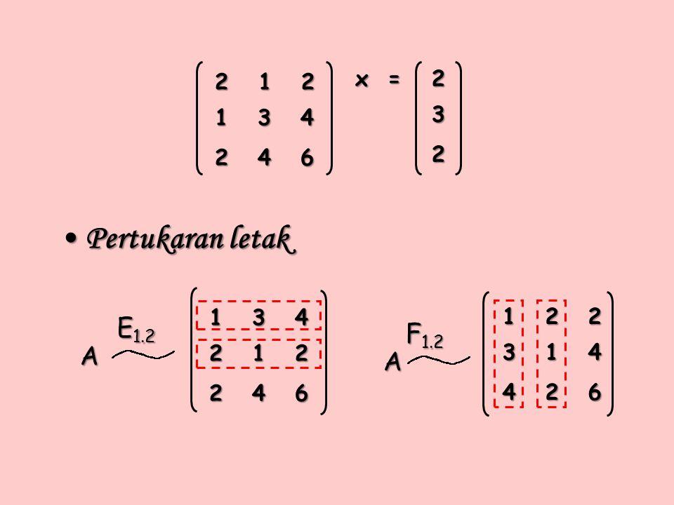 Pertukaran letak Pertukaran letak x = A A E 1.2 F 1.2 232 2 1 2 1 3 4 2 4 6 1 3 4 2 1 2 2 4 6 1 2 2 3 1 4 4 2 6