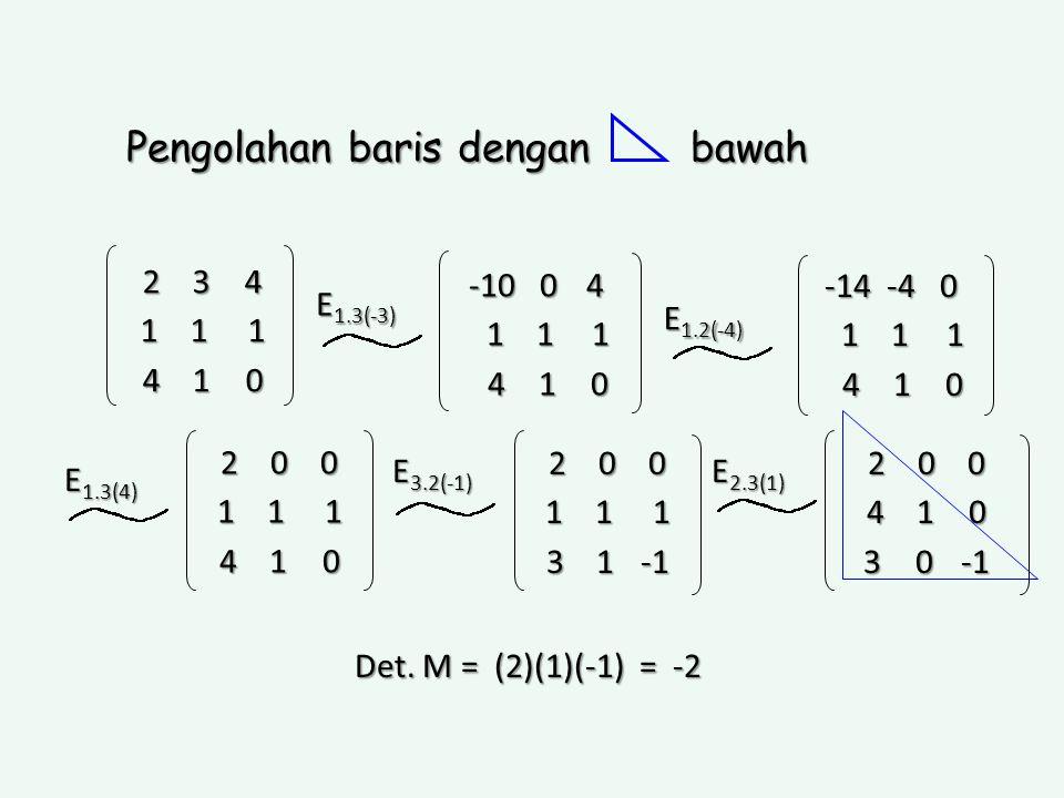 2 3 4 1 1 1 4 1 0 -10 0 4 1 1 1 1 1 1 4 1 0 4 1 0 Pengolahan baris dengan bawah -14 -4 0 1 1 1 1 1 1 4 1 0 4 1 0 E 1.3(-3) E 1.2(-4) 2 0 0 1 1 1 4 1 0