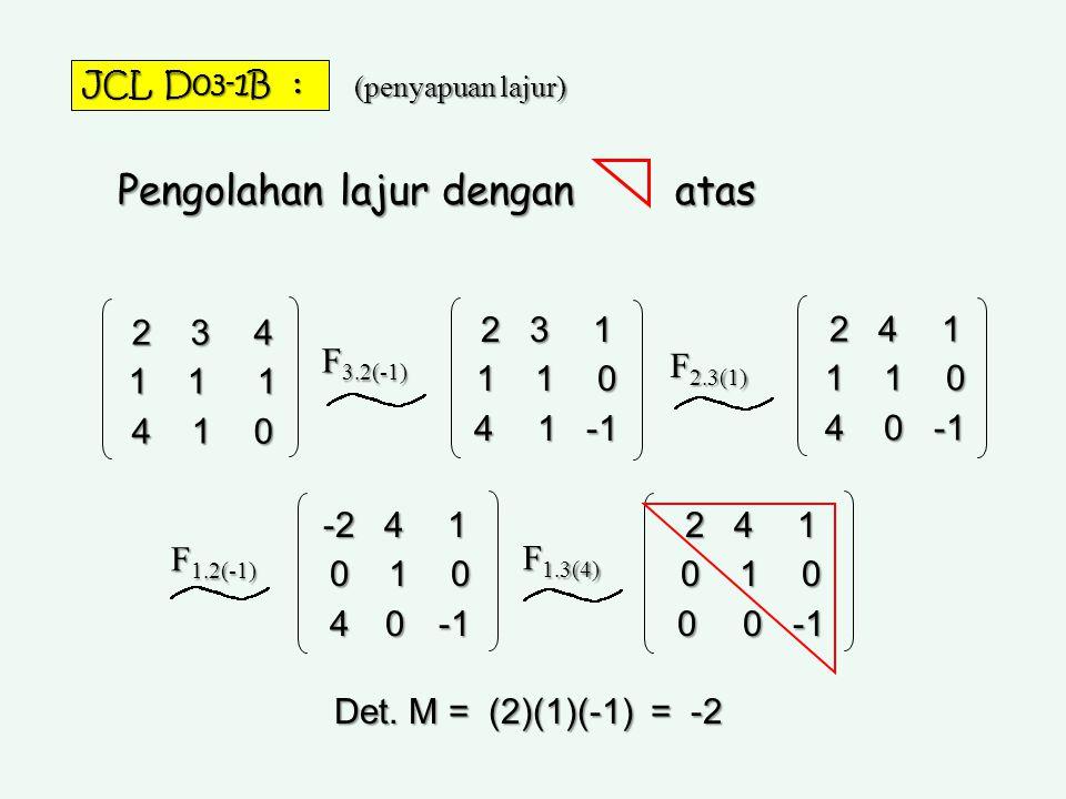Pengolahan lajur dengan atas 2 3 4 1 1 1 4 1 0 F 3.2(-1) 2 3 1 1 1 0 4 1 -1 F 2.3(1) 2 4 1 1 1 0 4 0 -1 -2 4 1 0 1 0 0 1 0 4 0 -1 4 0 -1 2 4 1 0 1 0 0
