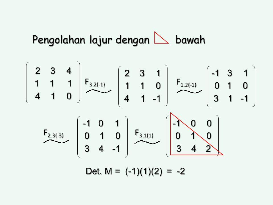 Pengolahan lajur dengan bawah 2 3 4 1 1 1 4 1 0 2 3 1 1 1 0 4 1 -1 -1 3 1 0 1 0 0 1 0 3 1 -1 3 1 -1 F 3.2(-1) F 1.2(-1) -1 0 1 0 1 0 0 1 0 3 4 -1 3 4