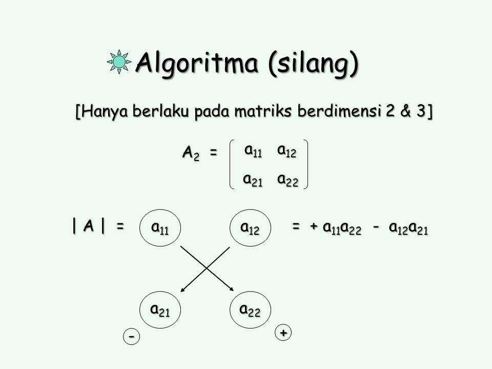 Algoritma (silang) [Hanya berlaku pada matriks berdimensi 2 & 3] A 2 = a 11 a 12 a 21 a 22 | A | = a 21 a 22 a 11 a 12 = + a 11 a 22 - a 12 a 21 + -