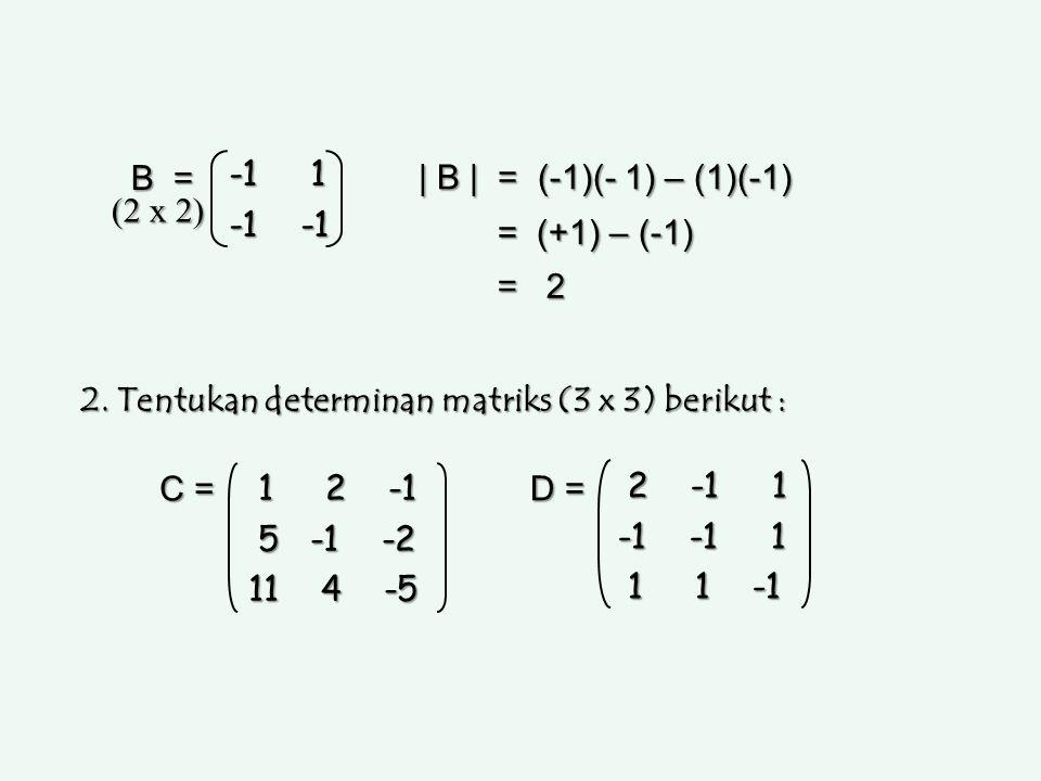 B = -1 1 -1 -1 | B | = (-1)(- 1) – (1)(-1) = (+1) – (-1) = 2 (2 x 2) 2. Tentukan determinan matriks (3 x 3) berikut : 1 2 -1 1 2 -1 5 -1 -2 5 -1 -2 11