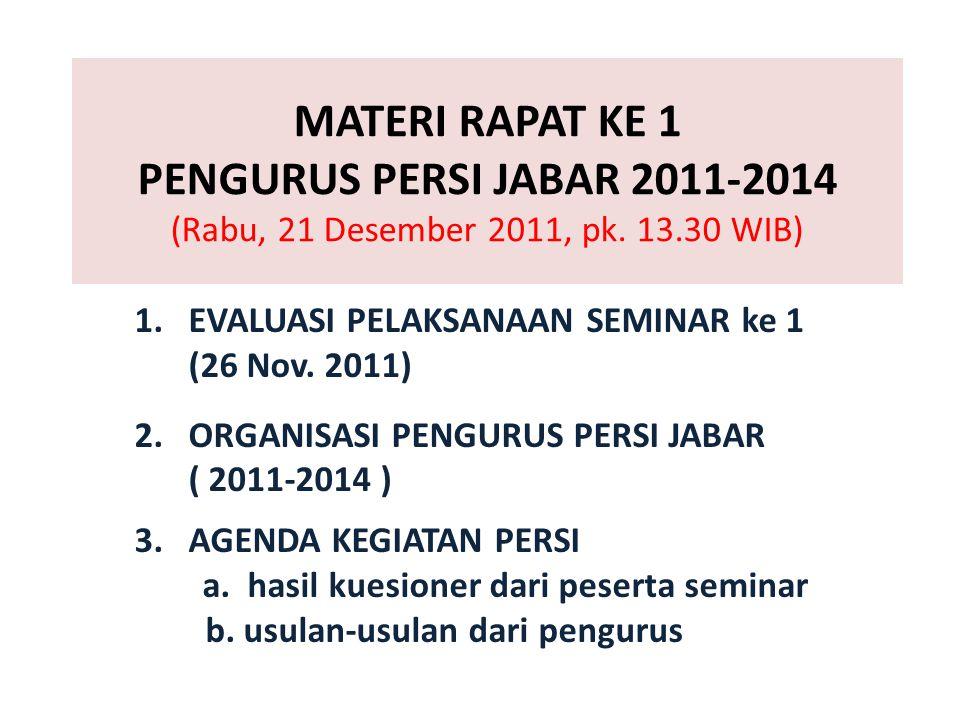 MATERI RAPAT KE 1 PENGURUS PERSI JABAR 2011-2014 (Rabu, 21 Desember 2011, pk. 13.30 WIB) 1.EVALUASI PELAKSANAAN SEMINAR ke 1 (26 Nov. 2011) 2.ORGANISA