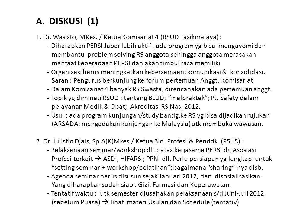 A. DISKUSI (1) 1. Dr. Wasisto, MKes. / Ketua Komisariat 4 (RSUD Tasikmalaya) : - Diharapkan PERSI Jabar lebih aktif, ada program yg bisa mengayomi dan