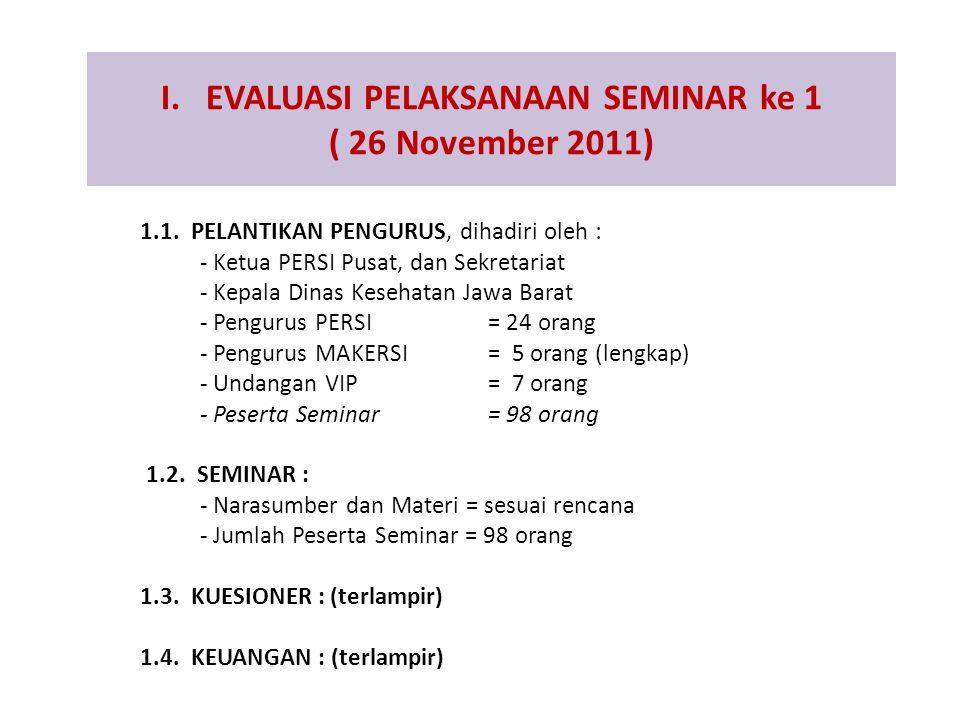 I. EVALUASI PELAKSANAAN SEMINAR ke 1 ( 26 November 2011) 1.1. PELANTIKAN PENGURUS, dihadiri oleh : - Ketua PERSI Pusat, dan Sekretariat - Kepala Dinas
