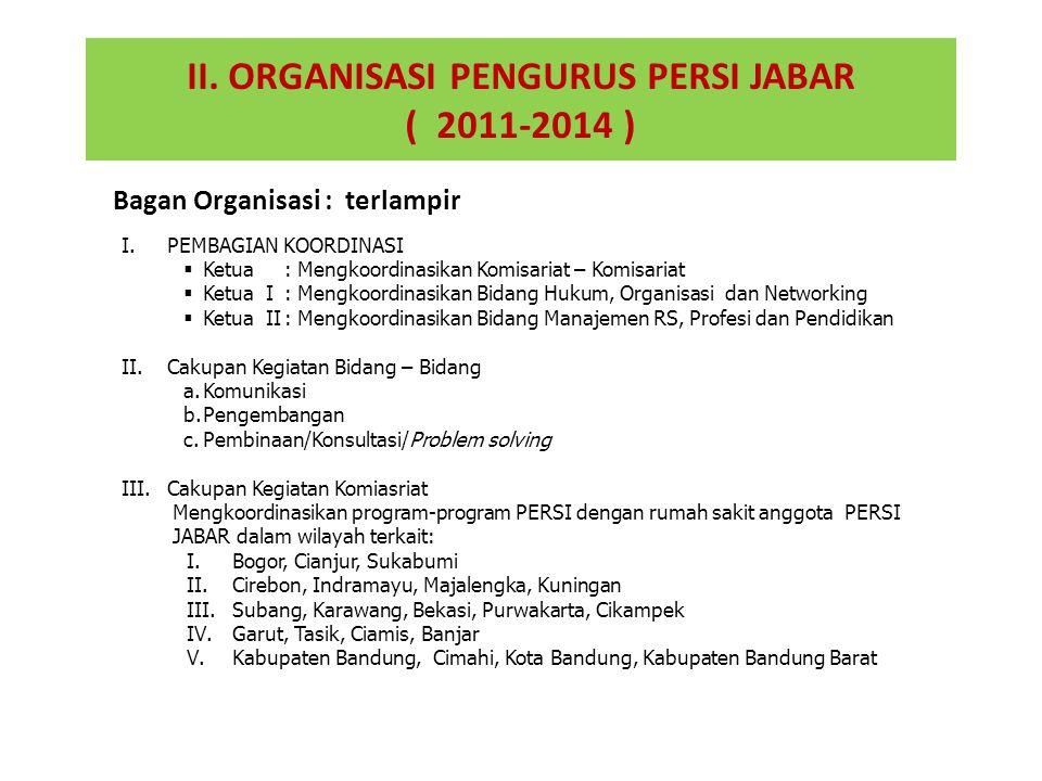 II. ORGANISASI PENGURUS PERSI JABAR ( 2011-2014 ) I.PEMBAGIAN KOORDINASI  Ketua :Mengkoordinasikan Komisariat – Komisariat  Ketua I:Mengkoordinasika