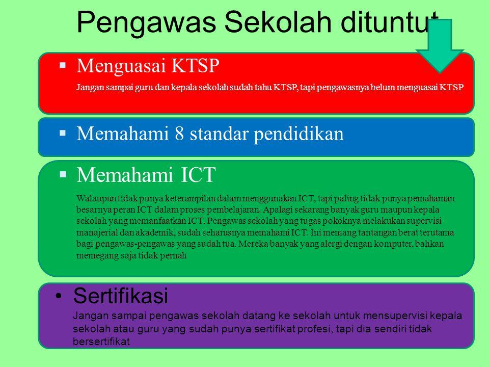 Pengawas Sekolah dituntut Sertifikasi Jangan sampai pengawas sekolah datang ke sekolah untuk mensupervisi kepala sekolah atau guru yang sudah punya sertifikat profesi, tapi dia sendiri tidak bersertifikat  Menguasai KTSP Jangan sampai guru dan kepala sekolah sudah tahu KTSP, tapi pengawasnya belum menguasai KTSP  Memahami 8 standar pendidikan  Memahami ICT Walaupun tidak punya keterampilan dalam menggunakan ICT, tapi paling tidak punya pemahaman besarnya peran ICT dalam proses pembelajaran.