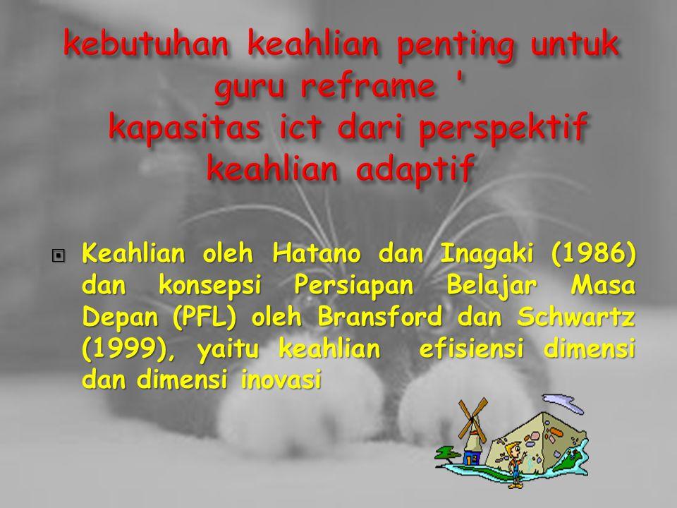  Keahlian oleh Hatano dan Inagaki (1986) dan konsepsi Persiapan Belajar Masa Depan (PFL) oleh Bransford dan Schwartz (1999), yaitu keahlian efisiensi dimensi dan dimensi inovasi