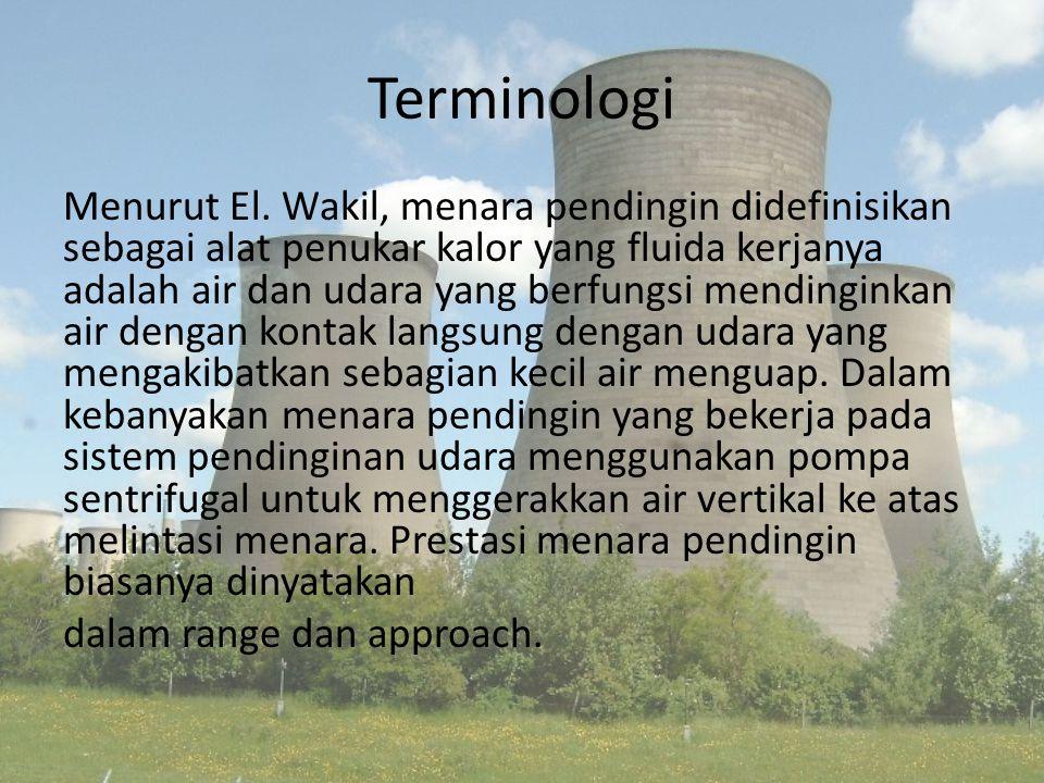 Terminologi Menurut El. Wakil, menara pendingin didefinisikan sebagai alat penukar kalor yang fluida kerjanya adalah air dan udara yang berfungsi mend