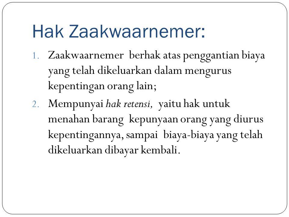 Hak Zaakwaarnemer: 1. Zaakwaarnemer berhak atas penggantian biaya yang telah dikeluarkan dalam mengurus kepentingan orang lain; 2. Mempunyai hak reten
