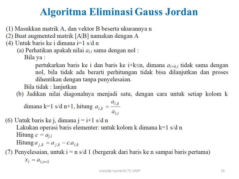 metode numerik-TE UMP15 Algoritma Eliminasi Gauss Jordan