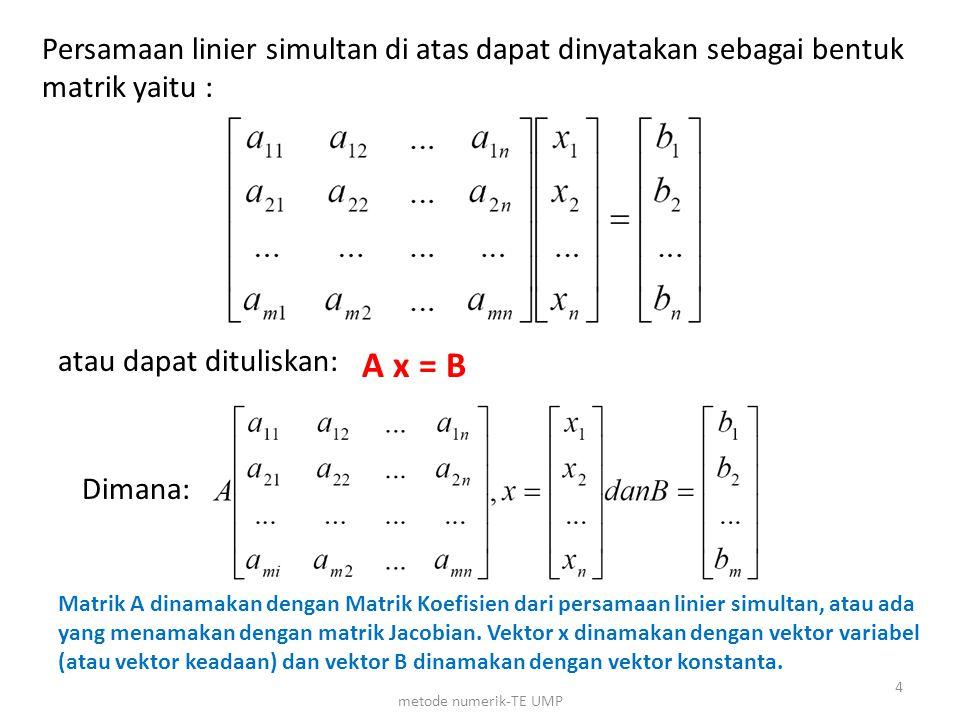 Persamaan linier simultan di atas dapat dinyatakan sebagai bentuk matrik yaitu : atau dapat dituliskan: A x = B Dimana: Matrik A dinamakan dengan Matr