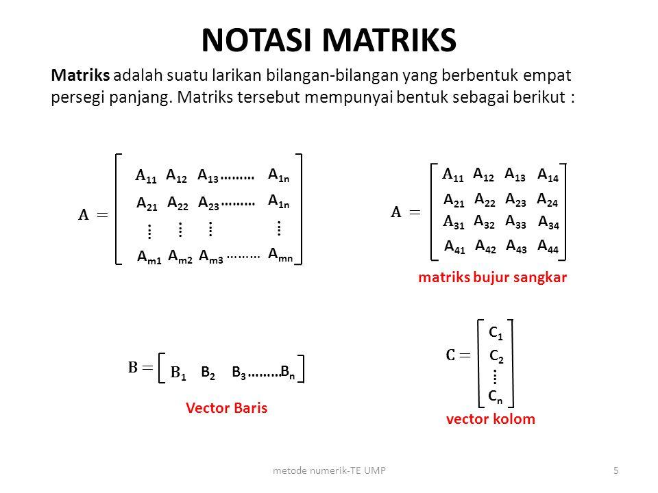 Solusi numerik persamaan linier a)Metode Eliminasi Gauss b)Metode Gauss Jordan c)Metode Iterasi (iterasi jacobi & iterasi Gauss Seidel) 6metode numerik-TE UMP