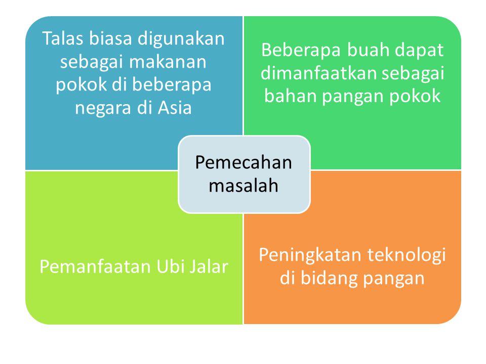 Talas biasa digunakan sebagai makanan pokok di beberapa negara di Asia Beberapa buah dapat dimanfaatkan sebagai bahan pangan pokok Pemanfaatan Ubi Jalar Peningkatan teknologi di bidang pangan Pemecahan masalah