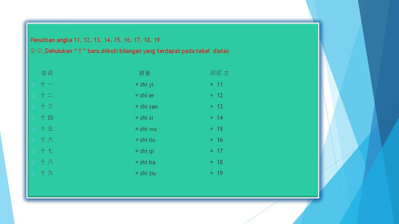 Penulisan angka 11, 12, 13, 14, 15, 16, 17, 18, 19 _Dahulukan 十 baru diikuti bilangan yang terdapat pada tabel diatas 生 词 拼音 印尼 文  十 一 = shi yi= 11  十 二 = shi er= 12  十 三 = shi san= 13  十 四 = shi si= 14  十 五 = shi wu = 15  十 六 = shi liu= 16  十 七 = shi qi= 17  十 八 = shi ba= 18  十 九 = shi jiu= 19 Penulisan angka 11, 12, 13, 14, 15, 16, 17, 18, 19 _Dahulukan 十 baru diikuti bilangan yang terdapat pada tabel diatas 生 词 拼音 印尼 文  十 一 = shi yi= 11  十 二 = shi er= 12  十 三 = shi san= 13  十 四 = shi si= 14  十 五 = shi wu = 15  十 六 = shi liu= 16  十 七 = shi qi= 17  十 八 = shi ba= 18  十 九 = shi jiu= 19