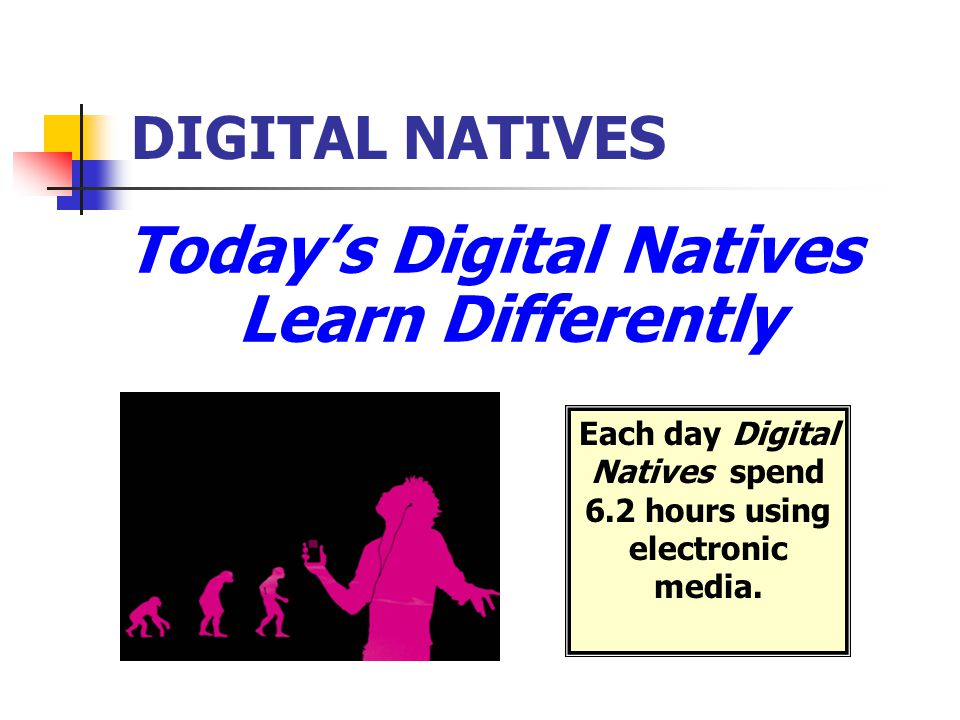 DIGITAL NATIVES Today's Digital Natives Learn Differently Each day Digital Natives spend 6.2 hours using electronic media.