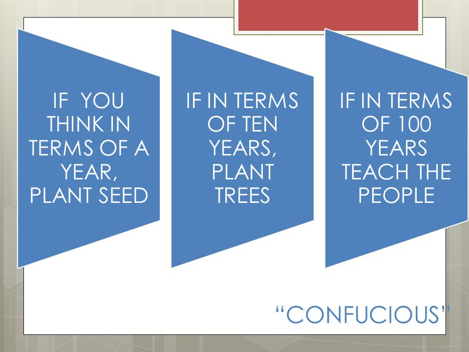 CONFUCIOUS IF YOU THINK IN TERMS OF A YEAR, PLANT SEED IF IN TERMS OF TEN YEARS, PLANT TREES IF IN TERMS OF 100 YEARS TEACH THE PEOPLE
