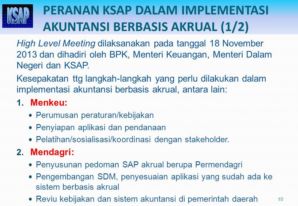 PERANAN KSAP DALAM IMPLEMENTASI AKUNTANSI BERBASIS AKRUAL (1/2) High Level Meeting dilaksanakan pada tanggal 18 November 2013 dan dihadiri oleh BPK, Menteri Keuangan, Menteri Dalam Negeri dan KSAP.