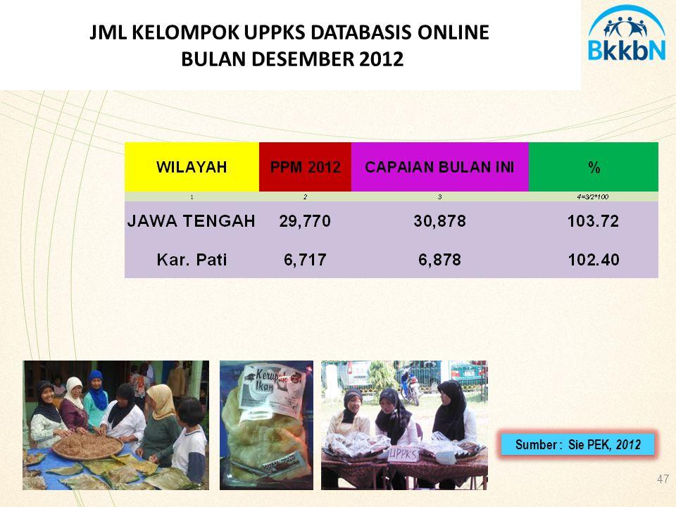 47 JML KELOMPOK UPPKS DATABASIS ONLINE BULAN DESEMBER 2012 Sumber : Sie PEK, 2012
