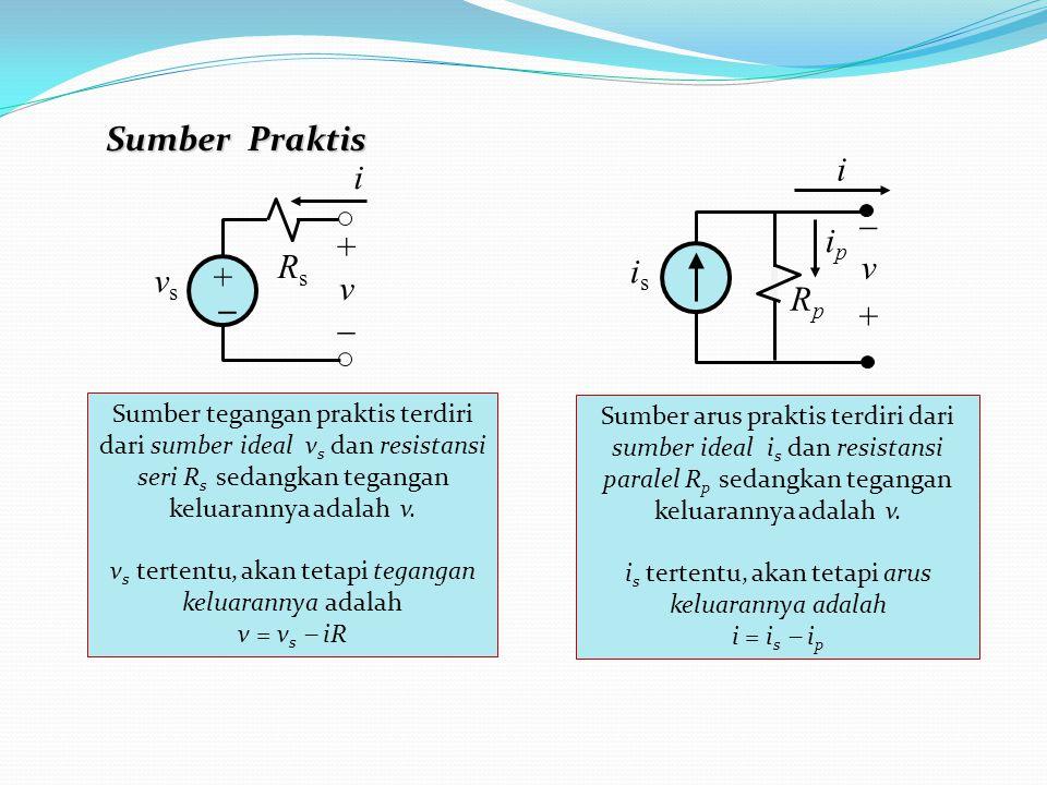 i RsRs +v+v vsvs _ + Sumber tegangan praktis terdiri dari sumber ideal v s dan resistansi seri R s sedangkan tegangan keluarannya adalah v.