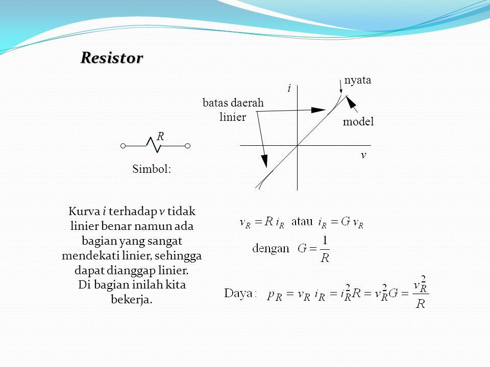 Resistor Simbol: R i v nyata model batas daerah linier Kurva i terhadap v tidak linier benar namun ada bagian yang sangat mendekati linier, sehingga d