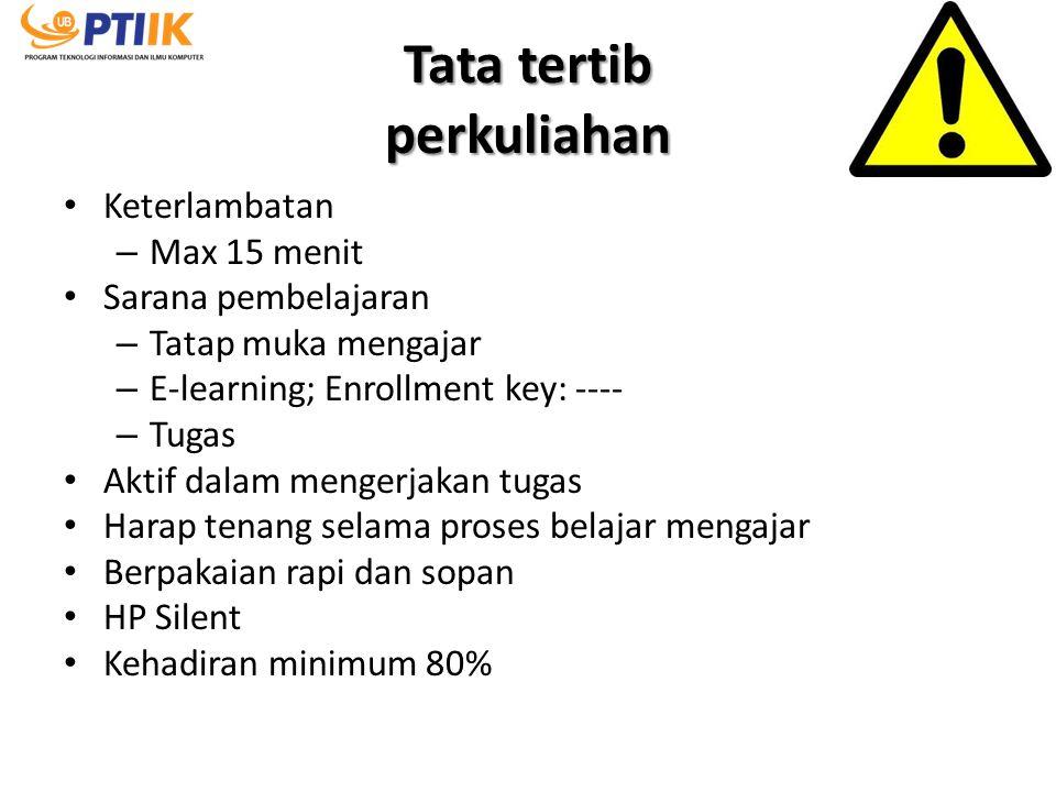 Tata tertib perkuliahan Keterlambatan – Max 15 menit Sarana pembelajaran – Tatap muka mengajar – E-learning; Enrollment key: ---- – Tugas Aktif dalam