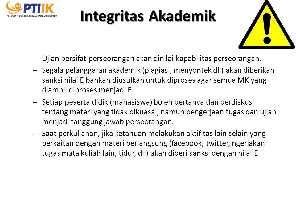 Integritas Akademik – Ujian bersifat perseorangan akan dinilai kapabilitas perseorangan. – Segala pelanggaran akademik (plagiasi, menyontek dll) akan