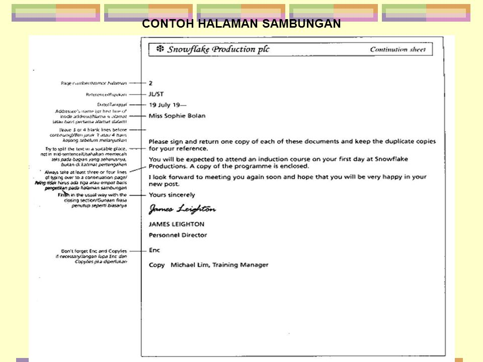 CONTOH LAMPIRAN Yours Sincerely SHEILA ROBINSON (Mrs.) Marketing Manager Enc