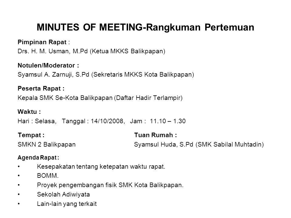 MINUTES OF MEETING-Rangkuman Pertemuan Pimpinan Rapat : Drs. H. M. Usman, M.Pd (Ketua MKKS Balikpapan) Notulen/Moderator : Syamsul A. Zarnuji, S.Pd (S