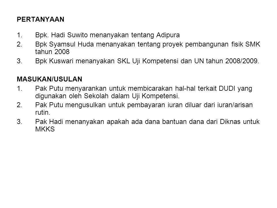PERTANYAAN 1.Bpk. Hadi Suwito menanyakan tentang Adipura 2.Bpk Syamsul Huda menanyakan tentang proyek pembangunan fisik SMK tahun 2008 3.Bpk Kuswari m